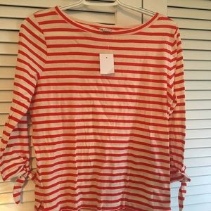 J Crew red and cream striped tee with ties